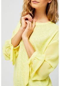 Żółta bluza MOODO bez kaptura, długa, z długim rękawem