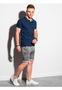 Niebieska koszulka polo Ombre Clothing z haftami, polo