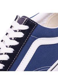 Niebieskie półbuty na koturnie Vans z cholewką