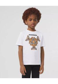 BURBERRY CHILDREN - Biała koszulka z grafiką misia 6-14 lat. Okazja: na co dzień. Kolor: biały. Materiał: bawełna. Wzór: napisy. Sezon: lato. Styl: casual