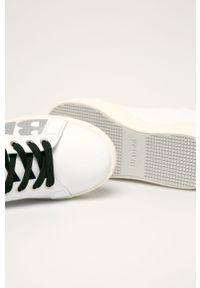 Białe buty sportowe Blauer na sznurówki, z cholewką, z okrągłym noskiem