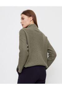 HEMISPHERE - Sweter kahki z kaszmirem. Typ kołnierza: golf. Kolor: zielony. Materiał: kaszmir. Wzór: ze splotem