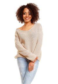 Sweter klasyczny, z dekoltem w serek, krótki