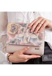 Kremowa kopertówka ROVICKY w kwiaty, skórzana
