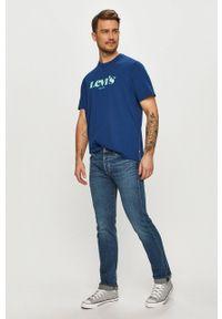 Levi's® - Levi's - T-shirt. Okazja: na co dzień, na spotkanie biznesowe. Kolor: niebieski. Wzór: nadruk. Styl: biznesowy, casual