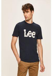 Lee - T-shirt. Okazja: na co dzień. Kolor: niebieski. Materiał: materiał. Styl: casual