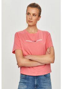 Różowa bluzka Tommy Jeans casualowa, na co dzień