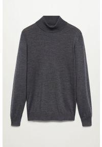 Szary sweter Mango Man długi, casualowy, na co dzień, z długim rękawem