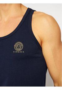 VERSACE - Versace Tank top Medusa AUU01012 Granatowy Regular Fit. Kolor: niebieski