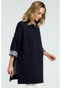 e-margeritka - Elegancka bawełniana bluza z golfem granat - uni. Typ kołnierza: golf. Materiał: bawełna. Długość: długie. Sezon: jesień, zima. Styl: elegancki