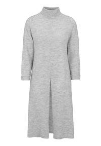 Happy Holly Długi sweter z rozcięciami Milla popielaty melanż female szary 44/46. Typ kołnierza: golf. Kolor: szary. Materiał: dzianina. Długość: długie. Wzór: melanż
