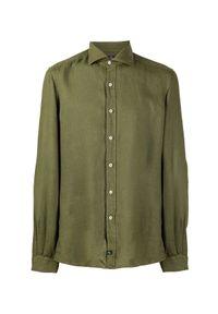 FAY - Zielona koszula z lnu. Kolor: zielony. Materiał: len. Długość rękawa: długi rękaw. Długość: długie. Wzór: aplikacja. Styl: wakacyjny #3