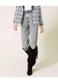 TwinSet - TWINSET - Szare jeansy z wysokim stanem. Stan: podwyższony. Kolor: szary