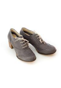 Zapato - sznurowane półbuty na 6 cm słupku - skóra naturalna - model 251 - kolor szary. Kolor: szary. Materiał: skóra. Obcas: na słupku