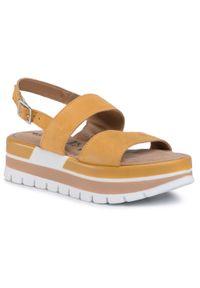 Żółte sandały Tamaris casualowe, na co dzień