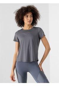 4f - Koszulka do jogi z materiałów z recyklingu damska. Kolor: szary. Materiał: materiał. Sport: joga i pilates