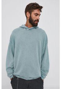 Tigha - Bluza bawełniana Danis. Typ kołnierza: kaptur. Kolor: zielony. Materiał: bawełna. Wzór: gładki