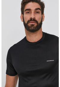 Emporio Armani - T-shirt. Okazja: na co dzień. Kolor: czarny. Materiał: dzianina. Styl: casual
