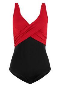 Kostium kąpielowy, przyjazny dla środowiska bonprix czarno-czerwony. Kolor: czarny