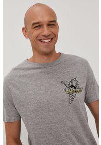 Szary t-shirt Brave Soul na co dzień, casualowy, z nadrukiem