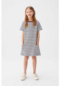Niebieska sukienka Mango Kids casualowa, na co dzień, prosta, mini #5