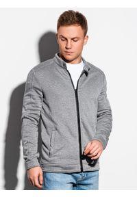 Ombre Clothing - Bluza męska rozpinana bez kaptura B1071 - szary melanż - XL. Typ kołnierza: bez kaptura. Kolor: szary. Materiał: bawełna, poliester. Wzór: melanż
