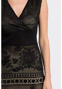 Czarna sukienka Desigual gładkie, mini, rozkloszowana
