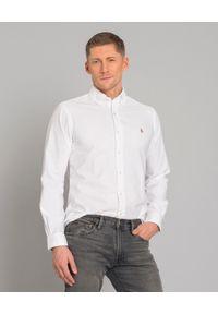 Ralph Lauren - RALPH LAUREN - Biała koszula Custom Fit. Typ kołnierza: polo. Kolor: biały. Materiał: bawełna, jeans. Długość rękawa: długi rękaw. Długość: długie. Wzór: haft. Styl: klasyczny