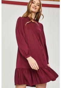 Fioletowa sukienka Answear Lab z długim rękawem, mini, ze stójką