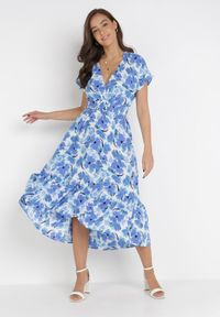 Born2be - Niebieska Sukienka Z Paskiem Lamimoni. Kolor: niebieski