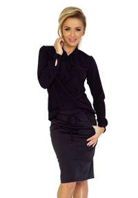 Czarna bluzka z długim rękawem Numoco elegancka
