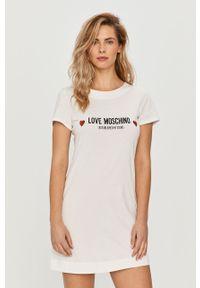 Biała sukienka Love Moschino z nadrukiem, na co dzień
