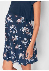 Sukienka ciążowa i do karmienia piersią w kwiaty bonprix ciemnoniebieski w kwiaty. Kolekcja: moda ciążowa. Kolor: niebieski. Wzór: kwiaty