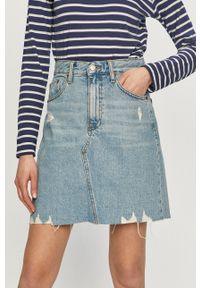 Dr. Denim - Spódnica jeansowa. Okazja: na co dzień. Stan: podwyższony. Kolor: niebieski. Materiał: denim, jeans. Styl: casual