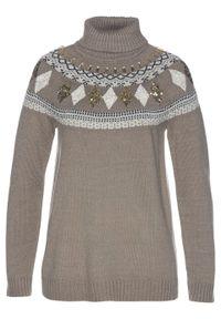 Brązowy sweter bonprix z aplikacjami, klasyczny