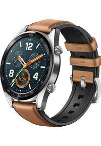HUAWEI - Smartwatch Huawei Watch GT Classic Silver Brązowy (55023257). Rodzaj zegarka: smartwatch. Kolor: brązowy