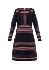 Czarna sukienka Missoni rozkloszowana, w ażurowe wzory