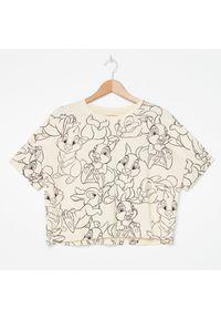 Kremowy t-shirt House krótki