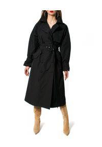 Czarny płaszcz AGGI na wiosnę, na spacer, w prążki