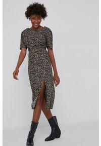 Answear Lab - Sukienka. Okazja: na co dzień. Kolor: czarny. Materiał: tkanina. Długość rękawa: krótki rękaw. Typ sukienki: proste. Styl: wakacyjny