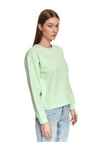 TOP SECRET - Bluza damska gładka. Kolor: zielony. Materiał: dzianina. Długość: długie. Wzór: gładki. Sezon: wiosna