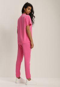 Renee - Różowy Komplet Dresowy Dwuczęściowy Aetheilla. Kolor: różowy. Materiał: dresówka