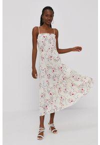 Vero Moda - Sukienka. Kolor: beżowy. Materiał: wiskoza, tkanina, materiał. Długość rękawa: na ramiączkach. Typ sukienki: rozkloszowane