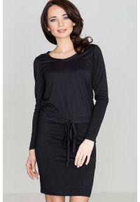 Katrus - Czarna Wygodna Sukienka Midi z Troczkami w Talii. Kolor: czarny. Materiał: wiskoza, elastan. Długość: midi