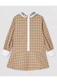 BURBERRY CHILDREN - Bawełniana sukienka w kratę 8 lat. Kolor: beżowy. Materiał: bawełna. Wzór: napisy. Sezon: lato