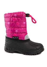 Różowe śniegowce Playshoes z cholewką, z aplikacjami