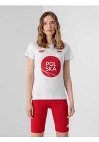4f - Koszulka damska Polska - Tokio 2020. Kolor: biały. Materiał: dzianina, bawełna. Wzór: nadruk. Sezon: lato