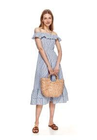 TOP SECRET - Sukienka midi w paski, z falbaną przy dekolcie. Kolor: biały. Wzór: paski. Typ sukienki: koszulowe. Długość: midi