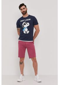 Mc2 Saint Barth - MC2 Saint Barth - T-shirt X Peanuts. Okazja: na co dzień. Kolor: niebieski. Materiał: dzianina. Wzór: nadruk. Styl: casual