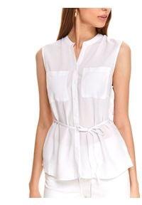 TOP SECRET - Koszula bez rękawów z wiązaniem w pasie. Okazja: na co dzień, do pracy. Kolor: biały. Materiał: tkanina. Długość rękawa: bez rękawów. Wzór: gładki, aplikacja. Styl: casual